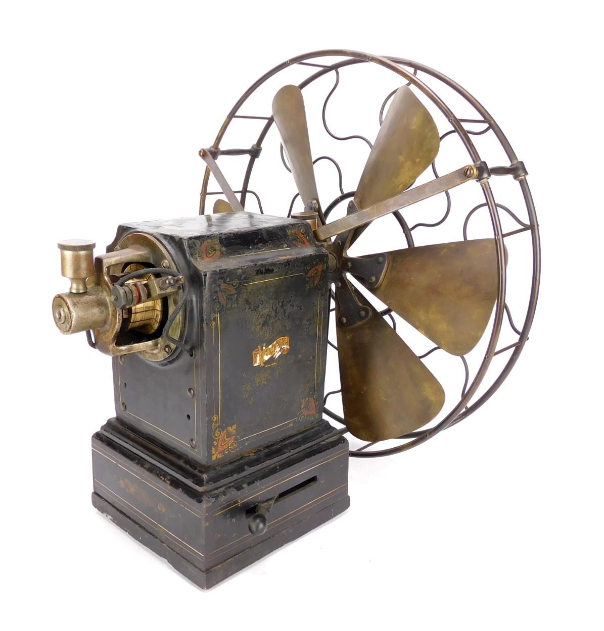 """Circa 1890's 12"""" Victor Iron Clad Desk Fan"""