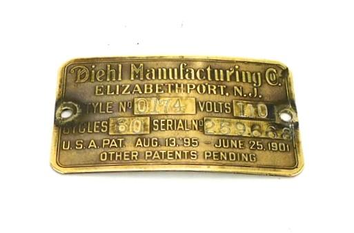 Original Diehl Big Motor Yoke Motor Tag Style 0174