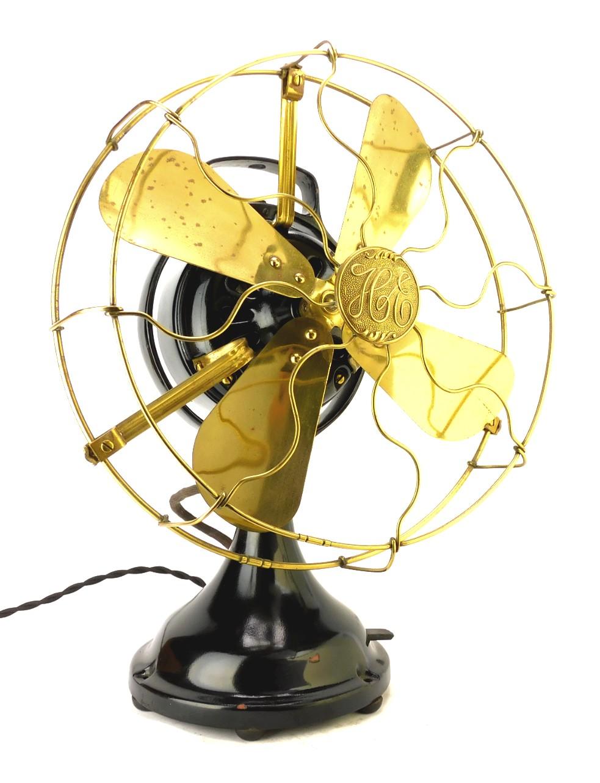 "Circa 1912 12"" Hunter Electric Kidney Oscillator Desk Fan"
