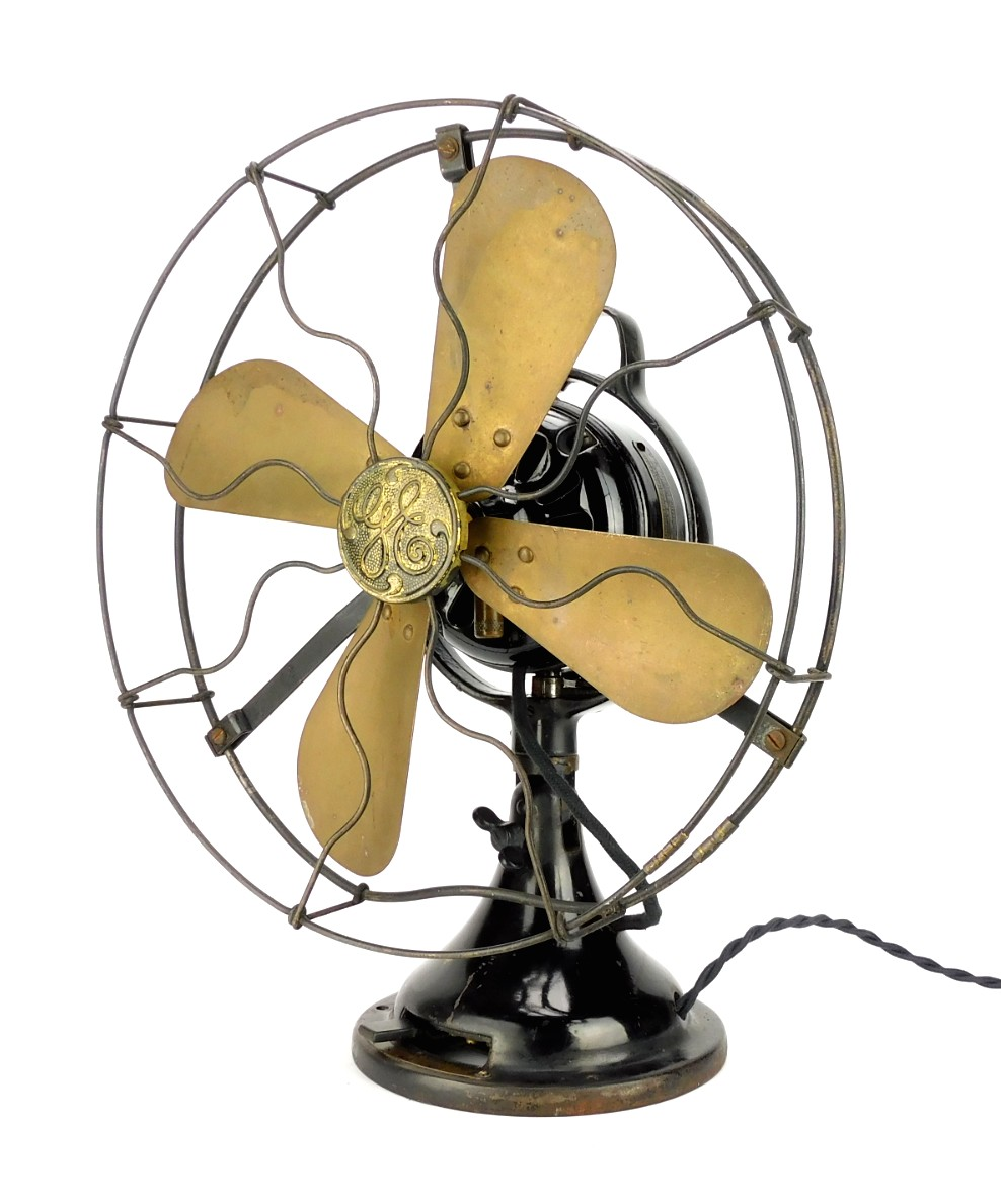 "Circa 1919 12"" Brass Blade GE 2 Star Oscillating Desk Fan"