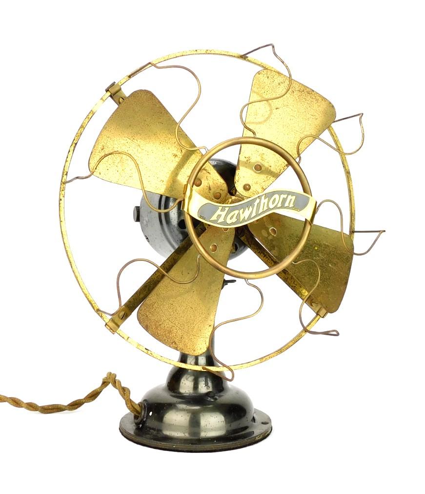 """Circa 1910 Western Electric Hawthorn 8"""" All Brass Desk Fan"""
