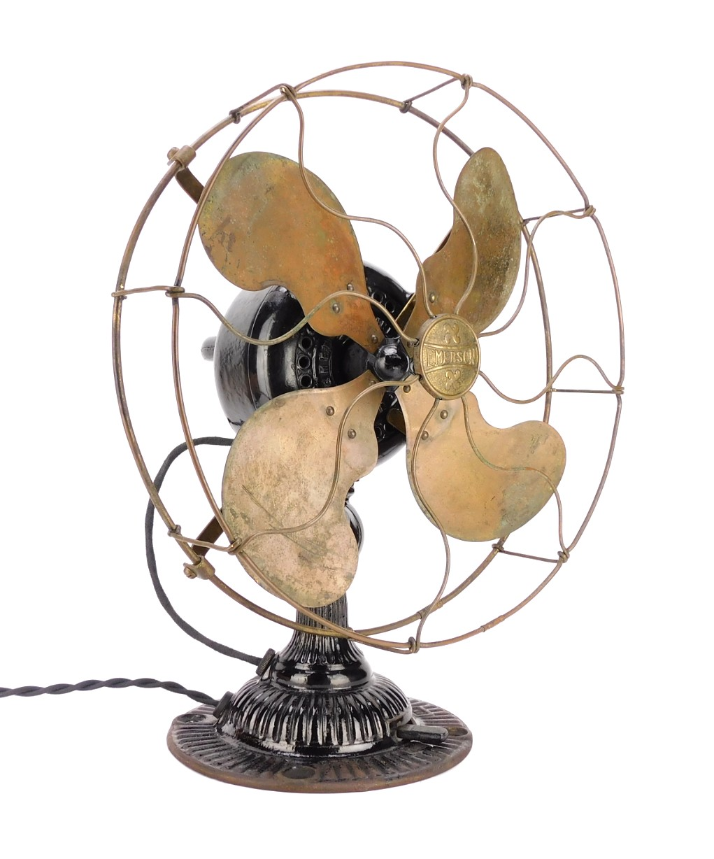 "Circa 1910 All Original Emerson 12646 12"" Lever Oscillator Desk Fan"