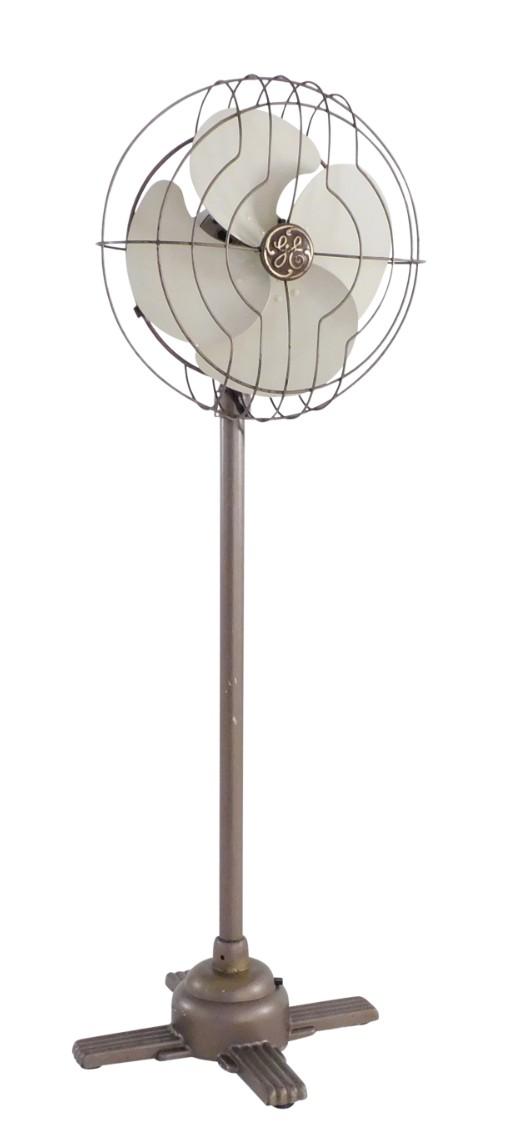 "Circa 1936 GE 12"" Quiet Blade Pedestal Fan All Original"