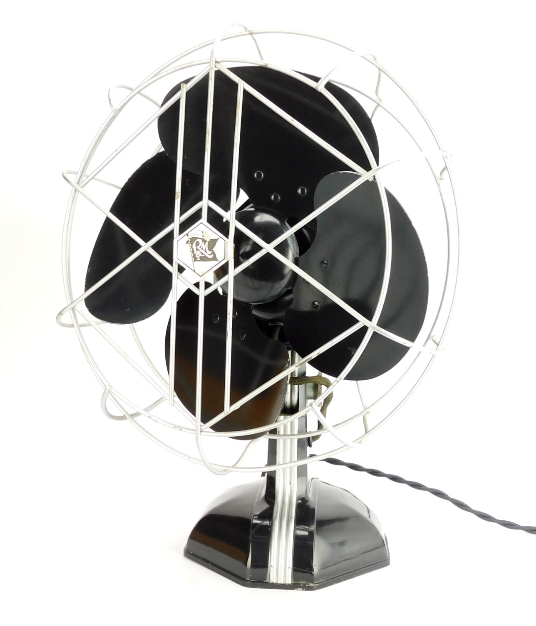 "Circa 1937 10"" Robbins & Myers Oscillating Desk Fan Original"