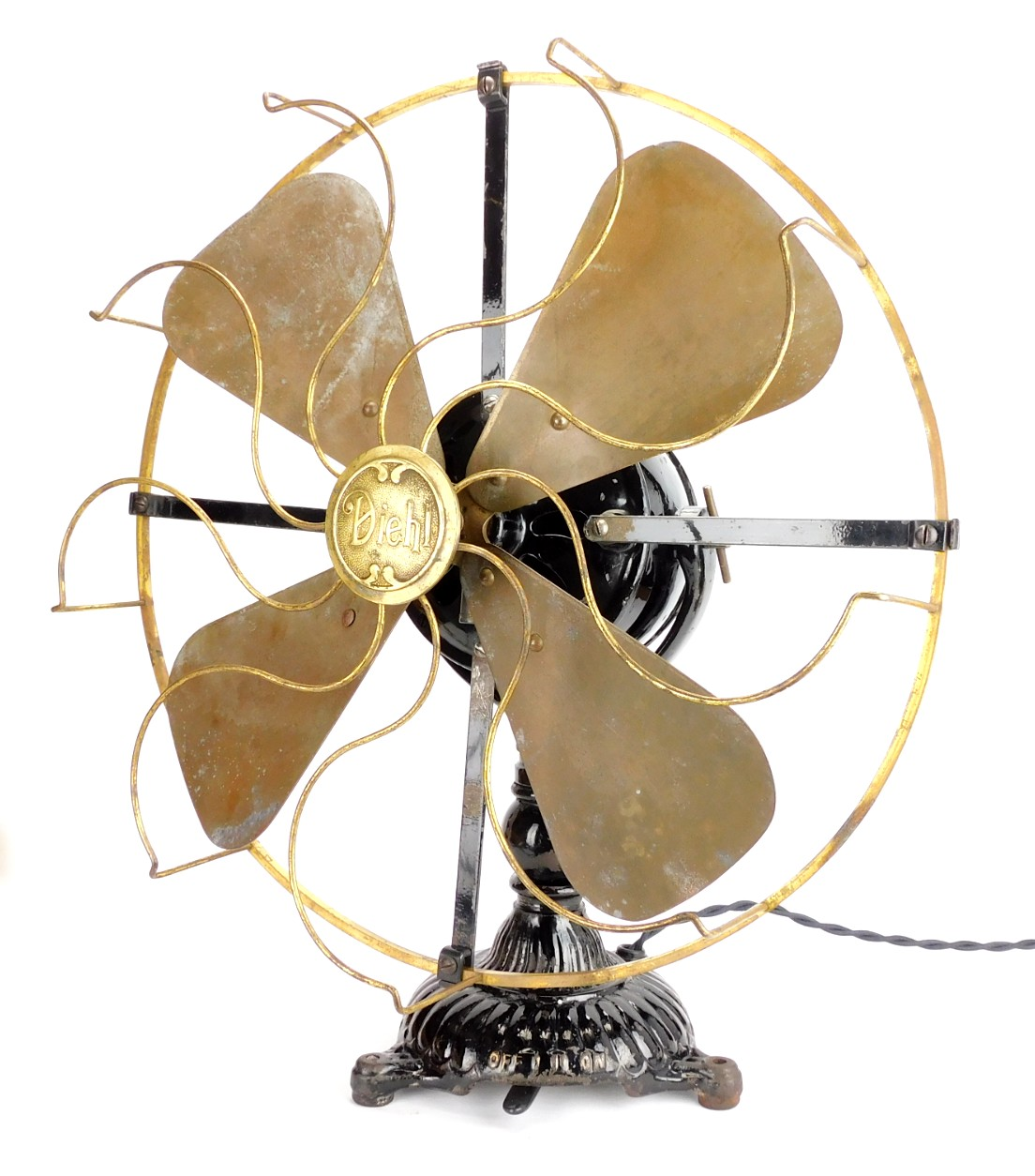 "Circa 1906 16"" Diehl Universal Ornate Base Desk Fan"