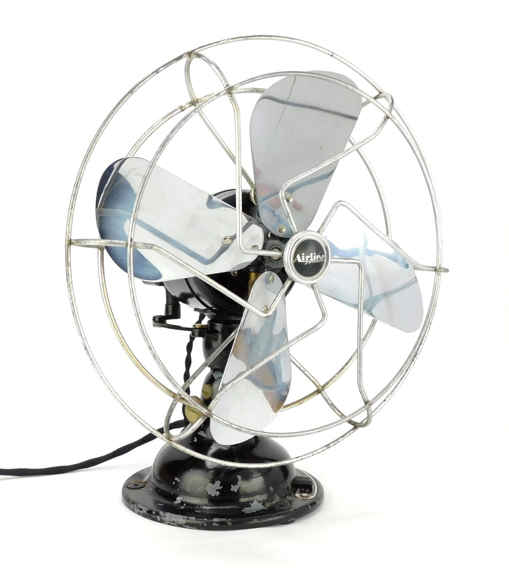 "Circa 1930's ""Airline"" By Uemco 10"" Oscillating Desk Fan"