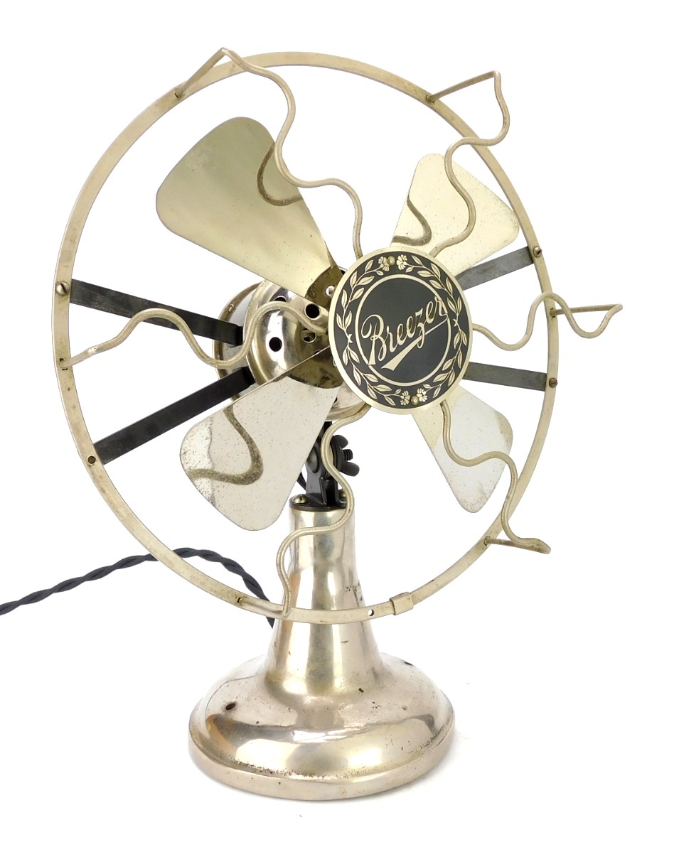 "Circa 1918 8"" Desk Fan ""Breezer"" By Lindstorm Smith Co."