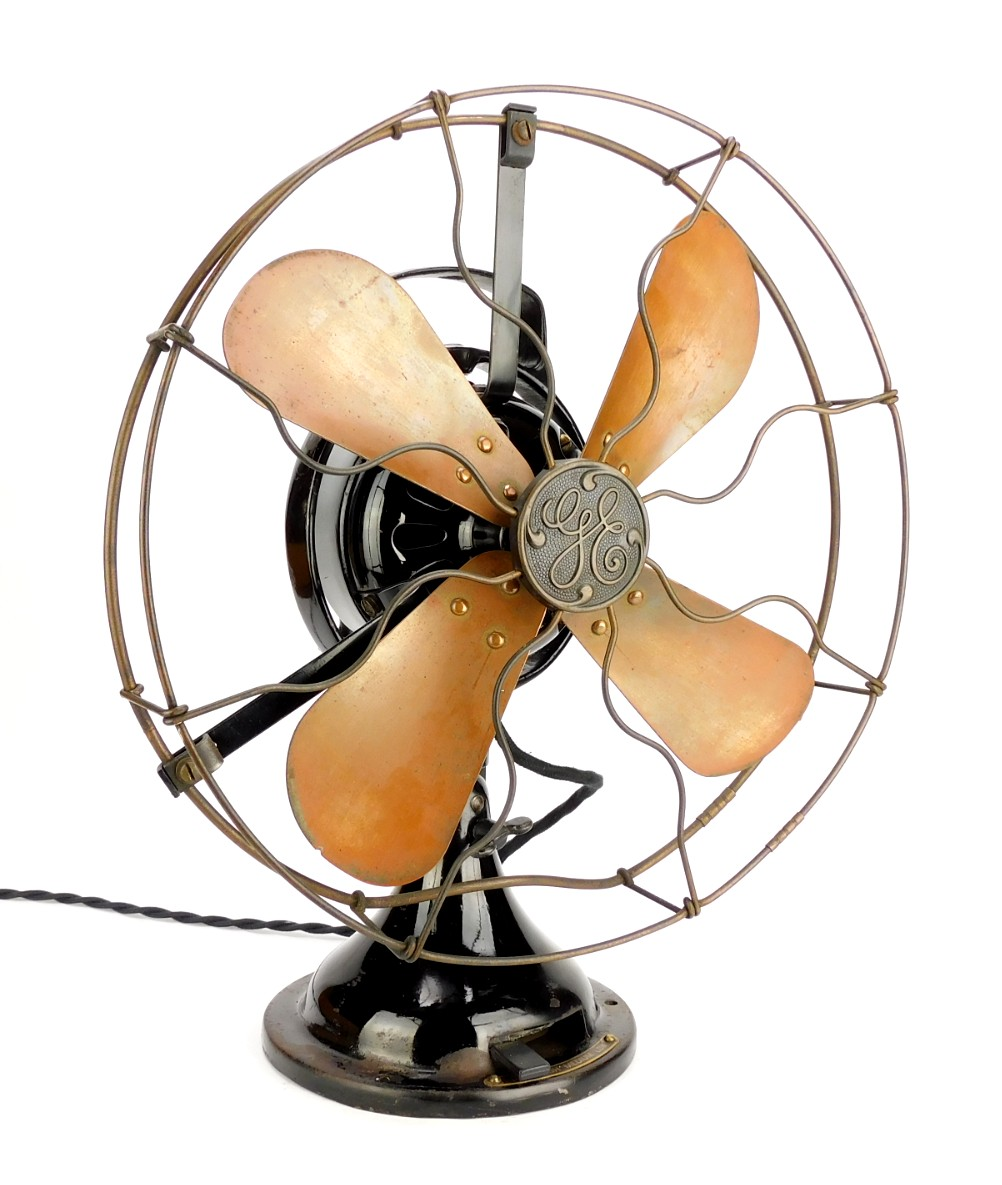 "Circa 1919 12"" Brass Blade/Cage GE 2 Star Oscillating Desk Fan"
