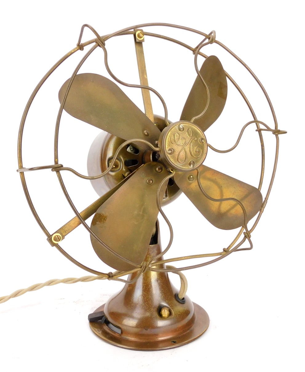 "Circa 1919 General Electric All Brass 8"" Desk Fan Rewound Motor"