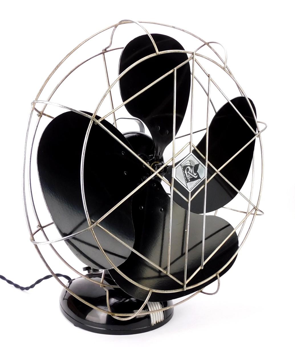 "Circa 1937 16"" Robbins & Myers List No. 1704 Oscillating Desk Fan"