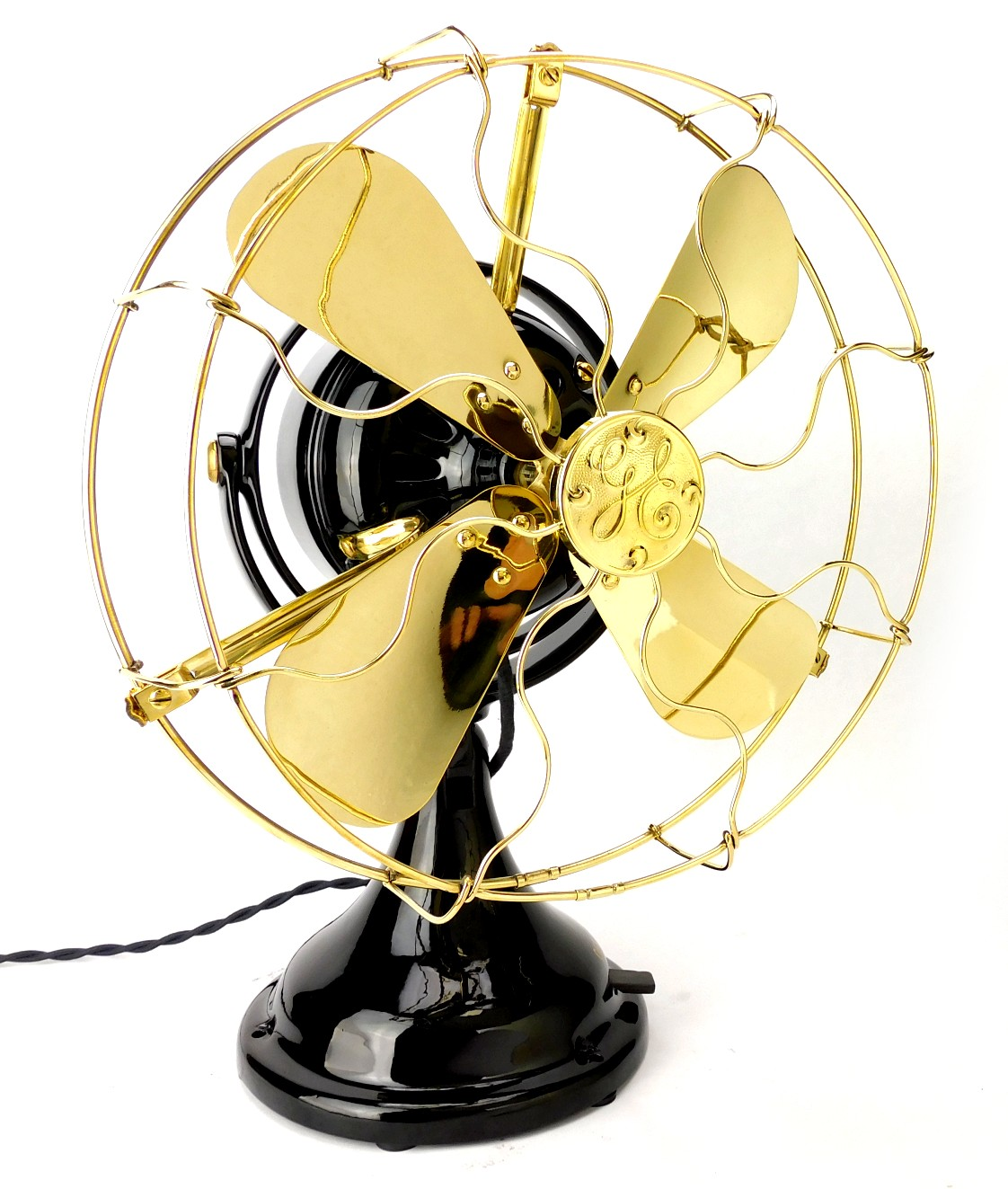 "Circa 1912 12"" GE General Electric ""Kidney"" Oscillating Desk Fan Restored"