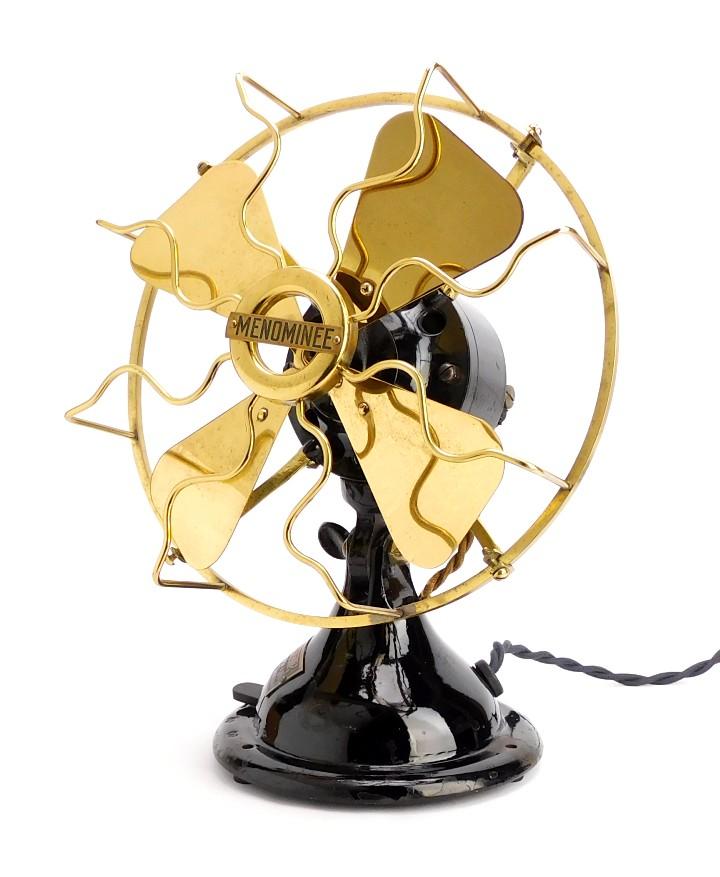 "Circa 1915 8"" Menominee Brass Blade Cage Cone Base Desk Fan"