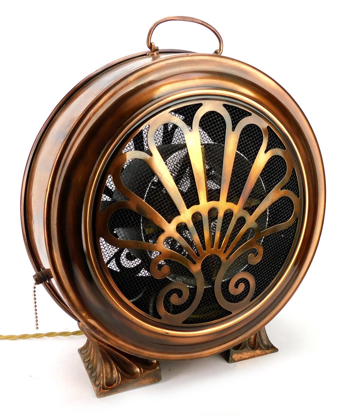 Circa 1930's Restored Art Deco Electric Heater Brushed Copper