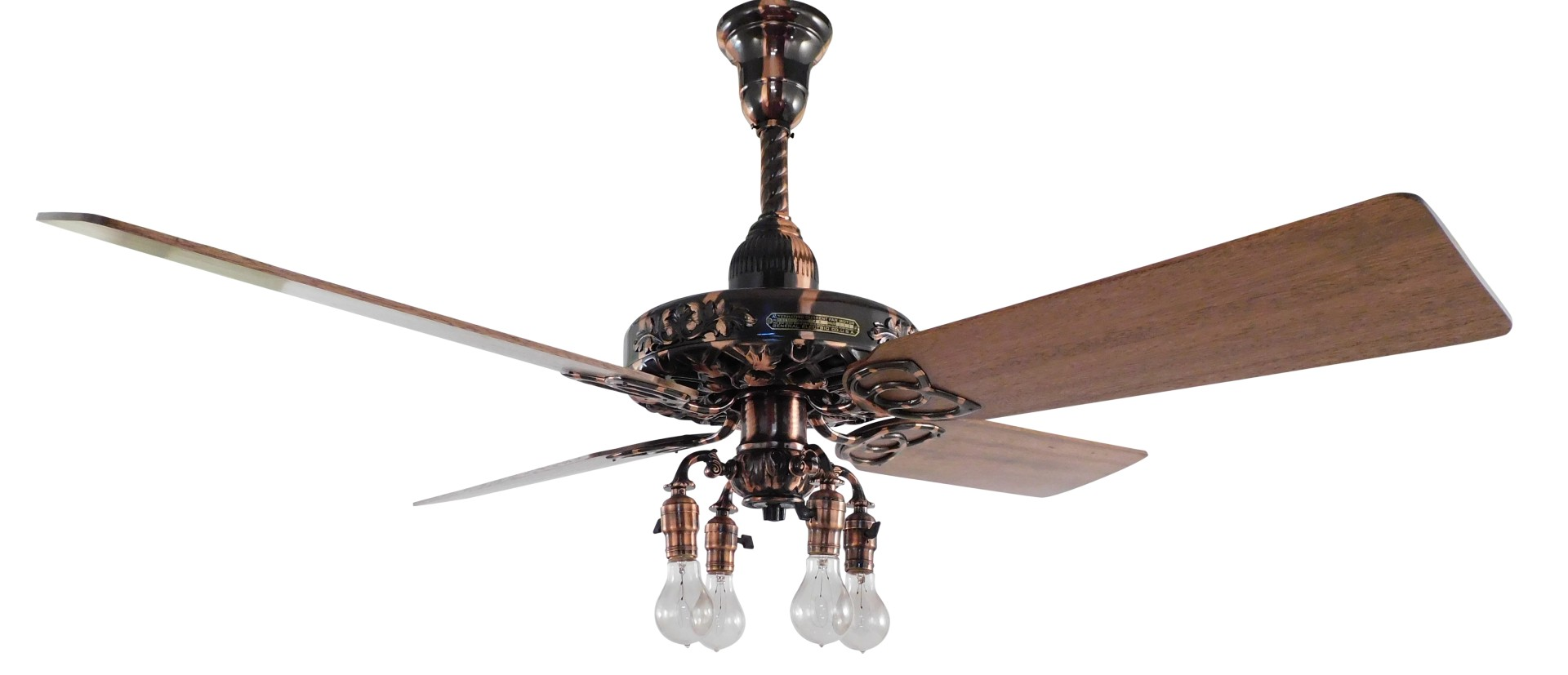 Circa 1909 Restored Copper Oxide GE Oak Leaf Ceiling Fan