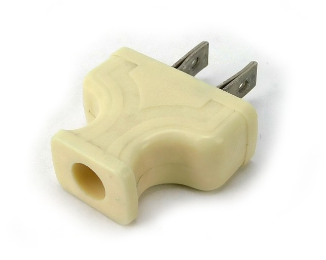 "Vintage White Bakelite Rectangular Plug Embossed ""Y"" with Stipple Design"