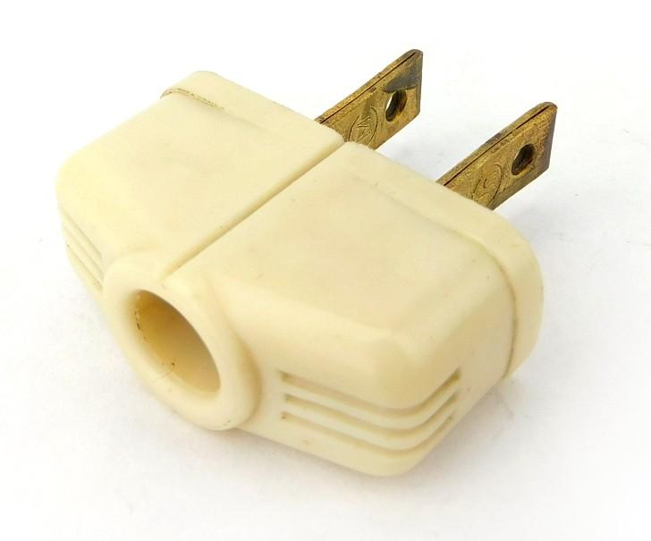 Vintage Monowatt White Bakelite Lamp Style Attachment Electric Plug 3 Fluted Designs On Curve