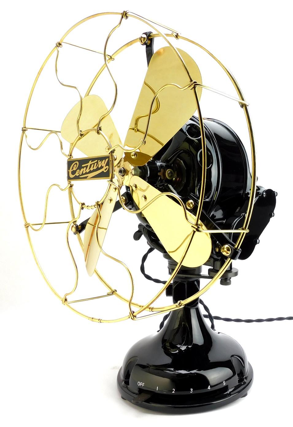 """Circa 1910 Professionally Restored Century S4 12"""" Sidegear Oscillating Desk Fan"""