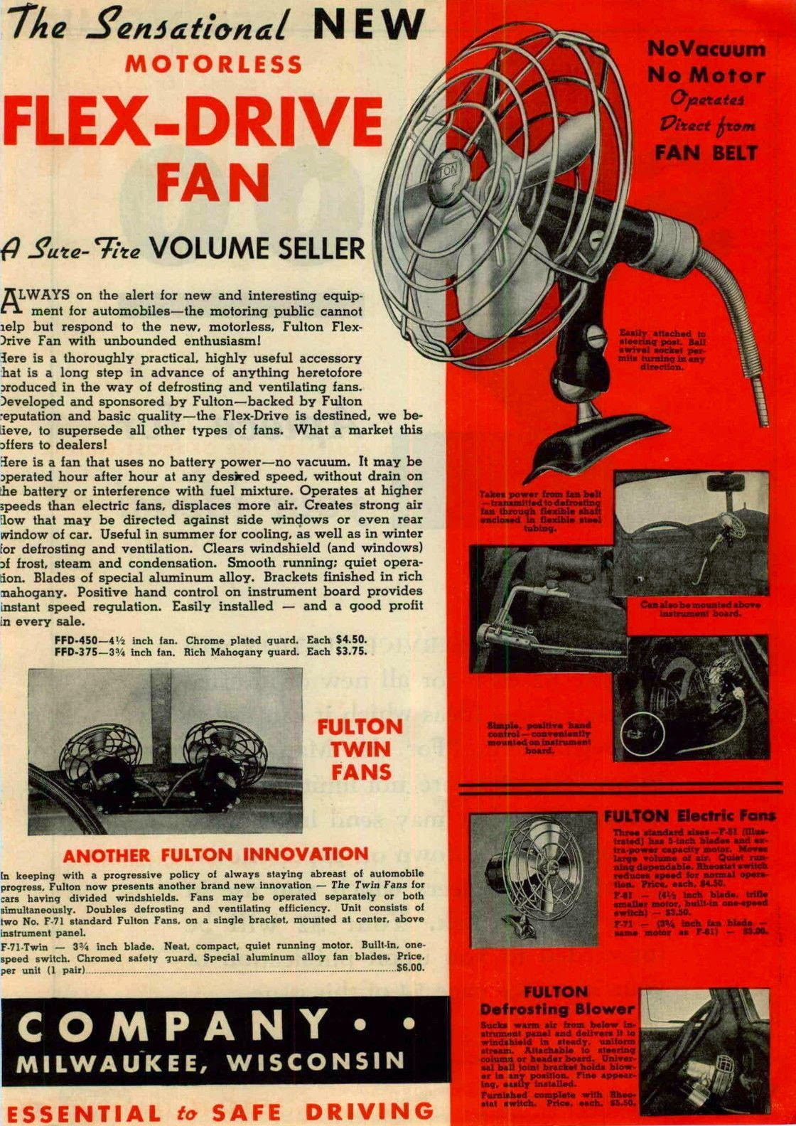 Vintage Fulton Automobile Fan Cable Driven New Old Stock