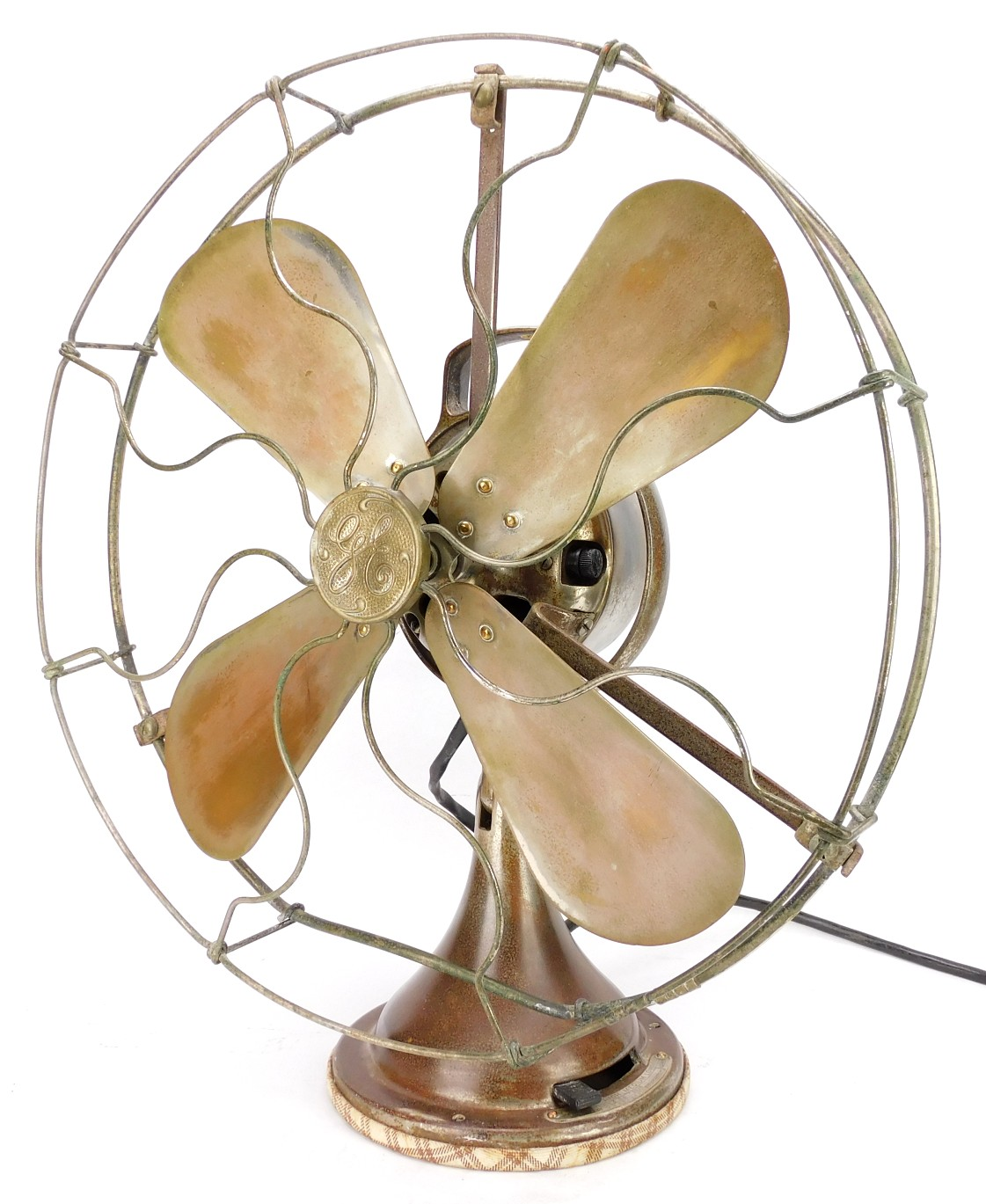 "Circa 1923 16"" GE Brass Bell Original Nickel Plated Oscillating Desk Fan Rare DC Example"