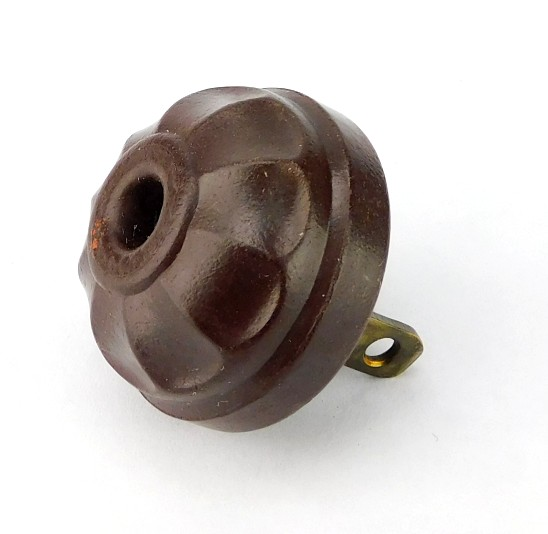 Antique Bryant Gutta Percha Pedal Design Cap With Smooth Collar Brown Attachment Electric Attachment Plug
