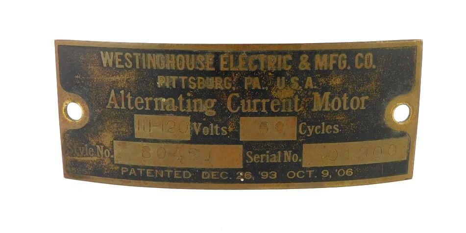 "Original Westinghouse Tank 12"" Motor Tag Style 80421"