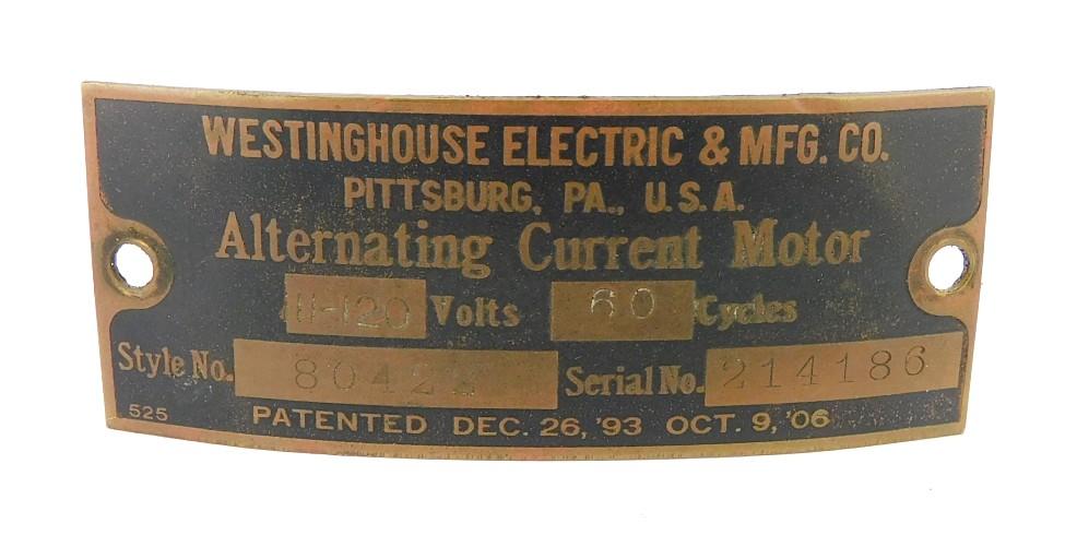 "Original Westinghouse Tank 16"" Motor Tag Style 80422"