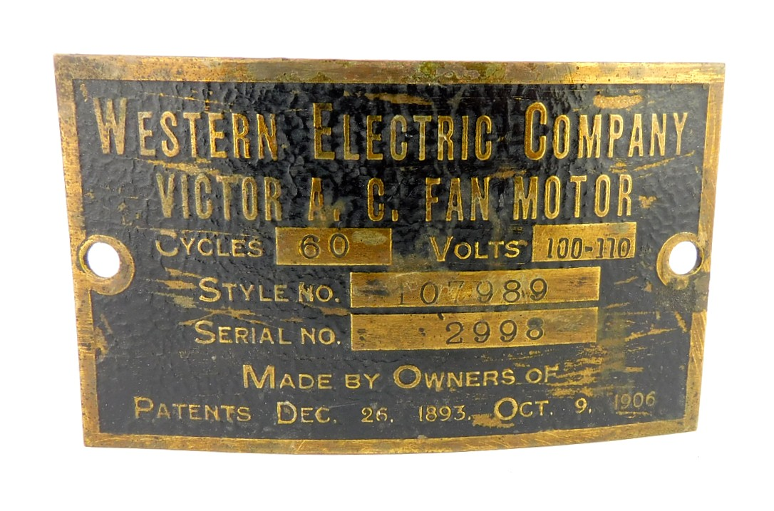 Original Western Electric Victor Motor Tag Style 107989