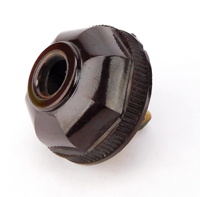 Vintage Leviton Brown Bakelite Octagon Electric Plug Fluted/ Smooth Collar