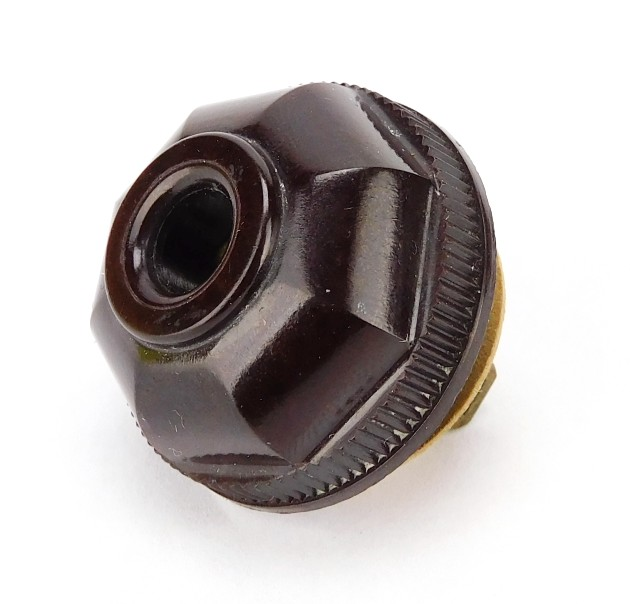 Vintage Brown Bakelite Octagon Fluted/ Smooth Collar Solid Prong Attachment Plug