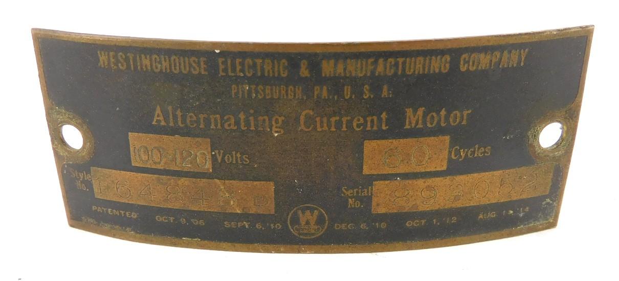 "Original Westinghouse Stamped Steel 12"" Tag Style 164848B"