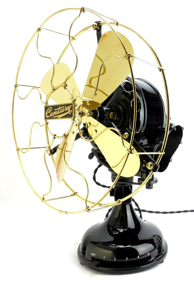 "Circa 1910 Professionally Restored Century S4 12"" Sidegear Oscillating Fan"