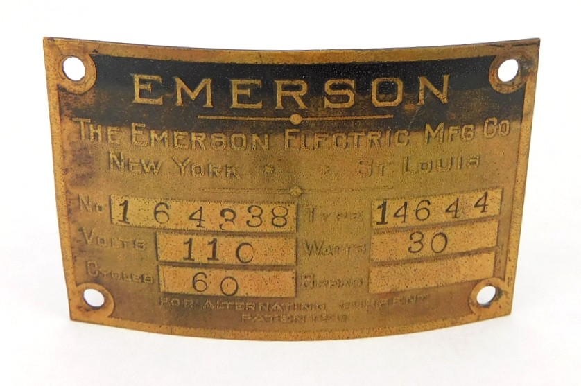 Original Emerson 14644 Motor Tag