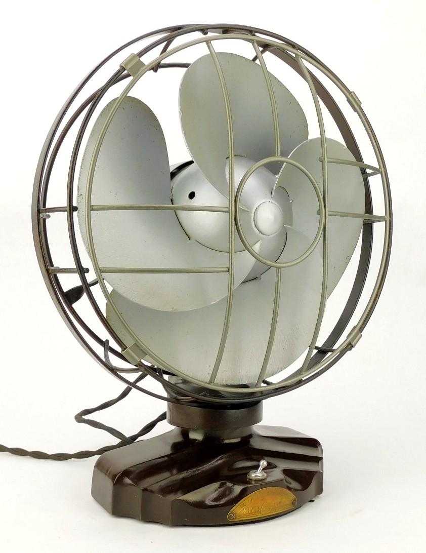 "Circa 1936 Emerson 10"" Silver Swan Oscillating Desk Fan"
