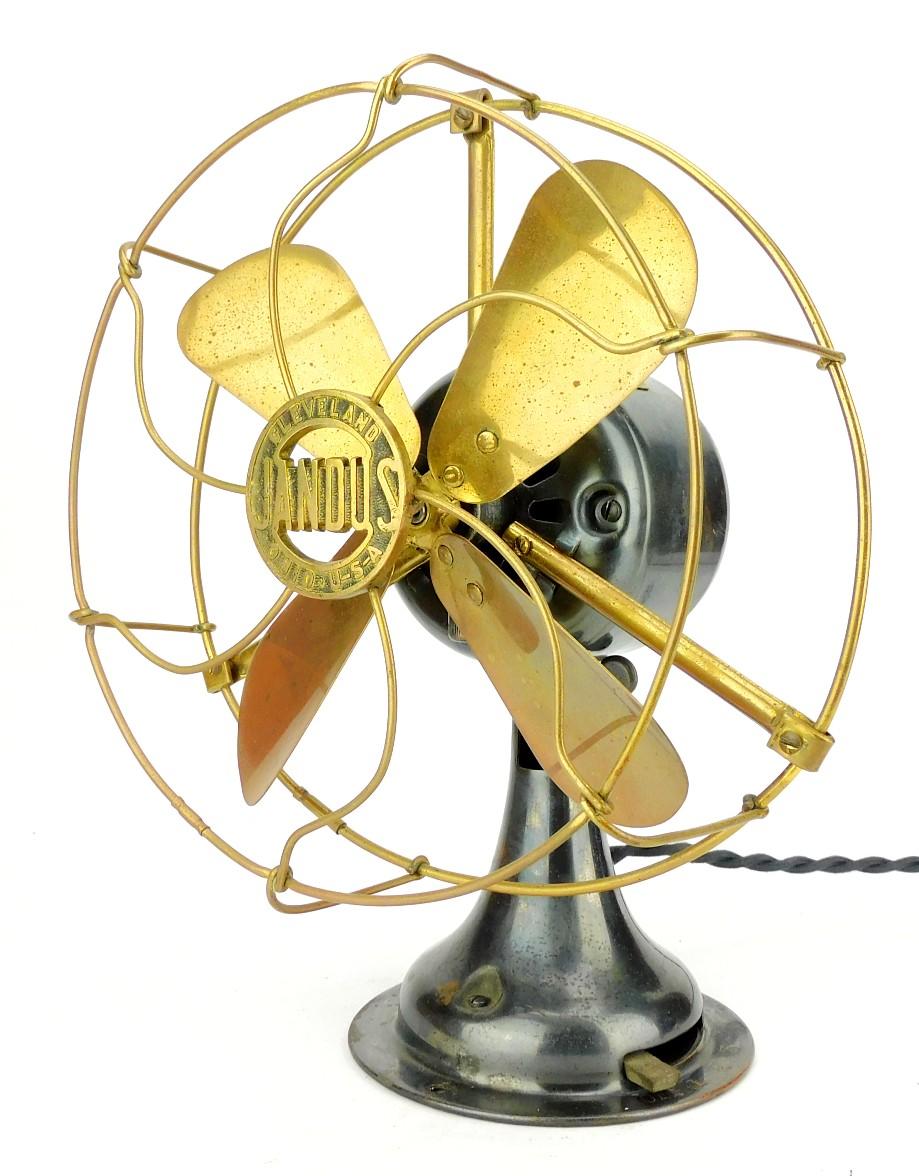 "Circa 1912 8"" Jandus All Brass Desk Fan Original Condition"
