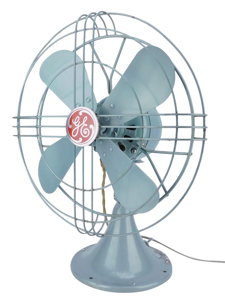 "Circa 1949 GE 12"" Standard Desk Fan #FM12S41 Gray Mist Incredible Original Example"