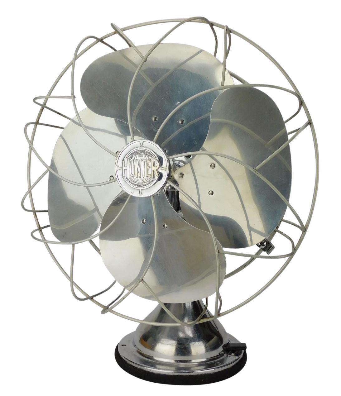 "Circa 1939 12"" Hunter All Chrome Oscillating Desk Fan"
