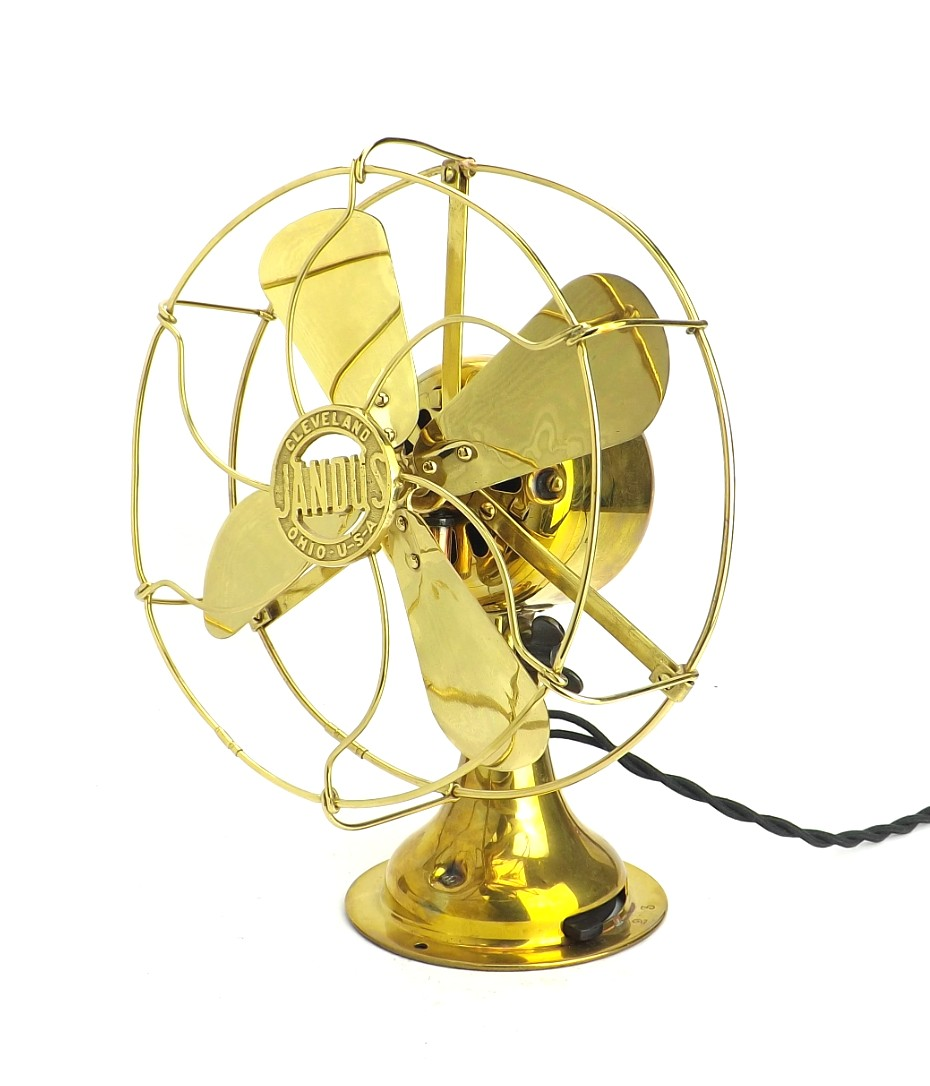 "Circa 1912 8"" Jandus All Brass Desk Fan Polished Brass"