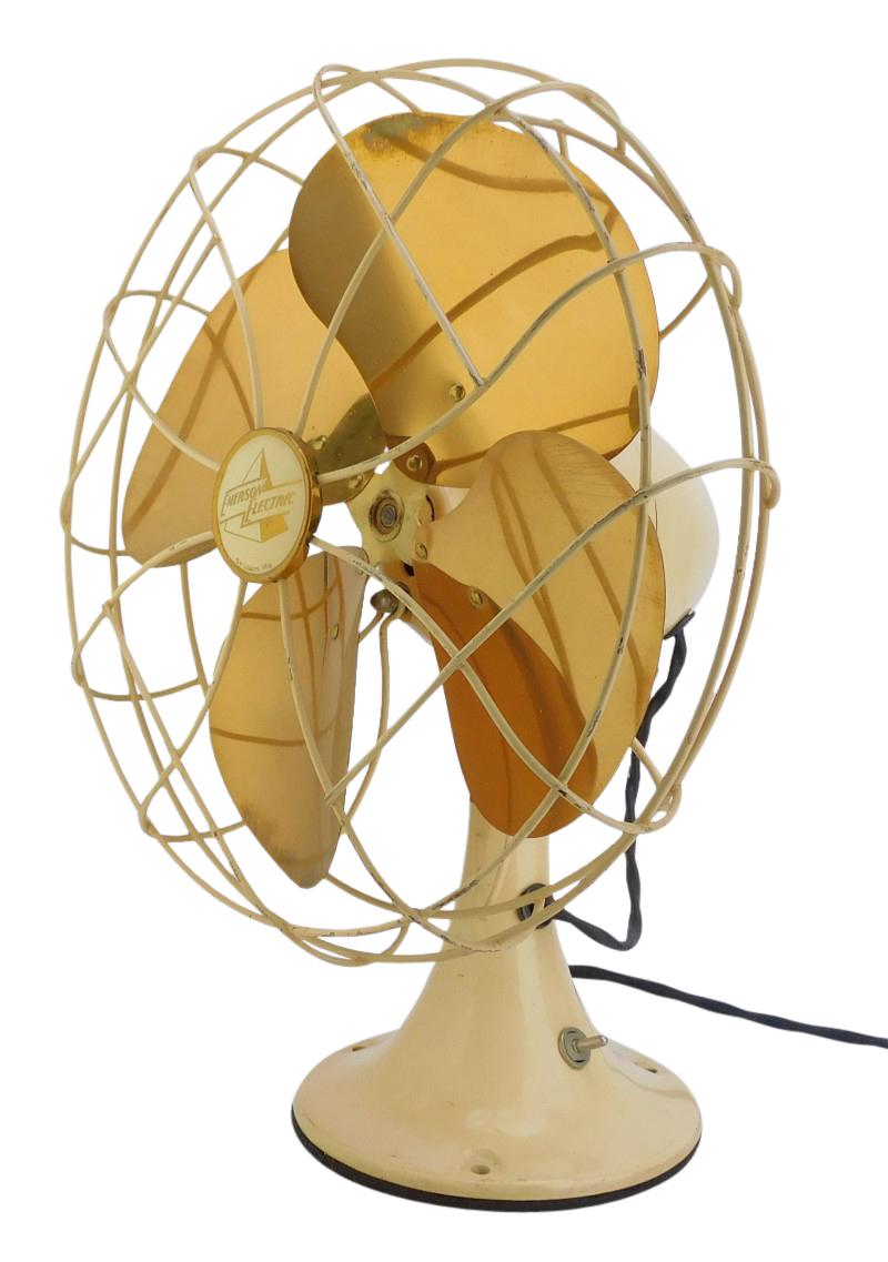 "Circa 1949 10"" Emerson Model 6250-G Ivory Golden Jubilee Oscillating Desk Fan"