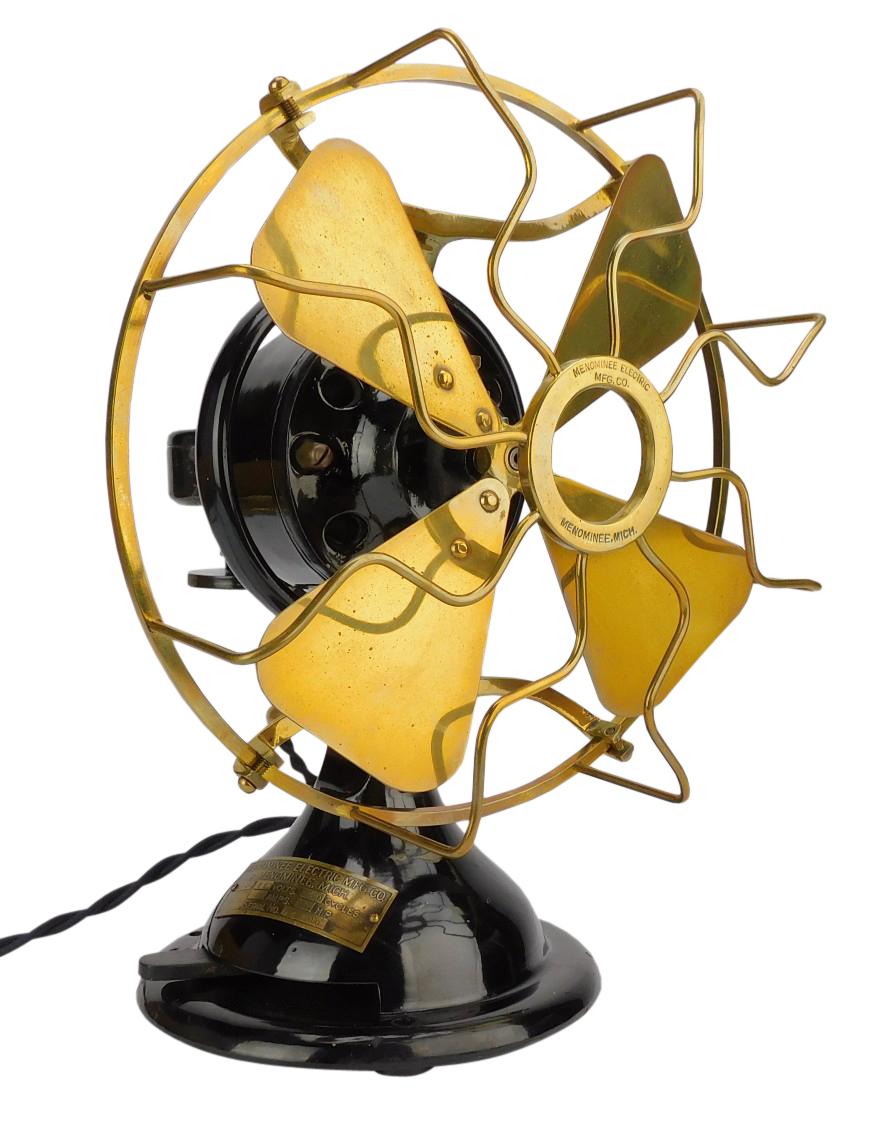 "Circa 1915 8"" Menominee Staghorn Oscillating Desk Fan Original Finish"