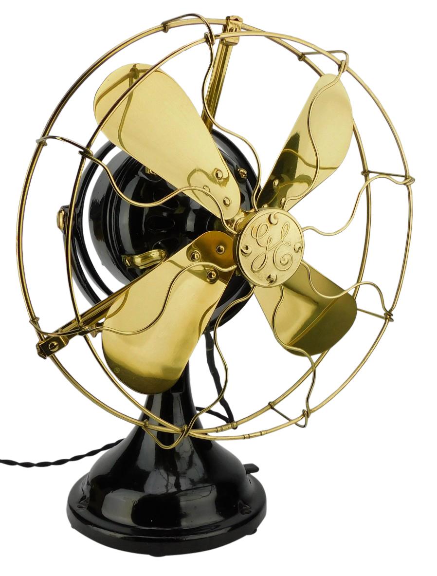 "Nicely Restored GE 12"" Kidney Oscillating Desk Fan"