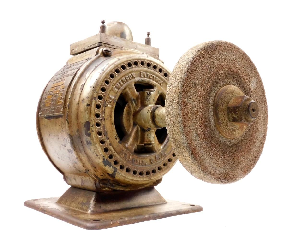 Circa 1907 Emerson 1/6 HP Motor With Grinding Wheel
