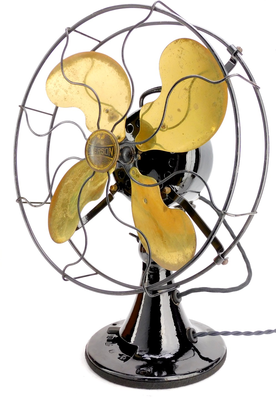 "Circa 1919 12"" Emerson Type 27646 Brass Bladed Oscillating Desk Fan"