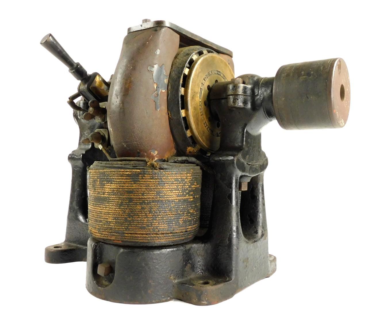 Circa 1890's Crocker Wheeler Bipolar Motor 1.5 H.P. 500 Volts