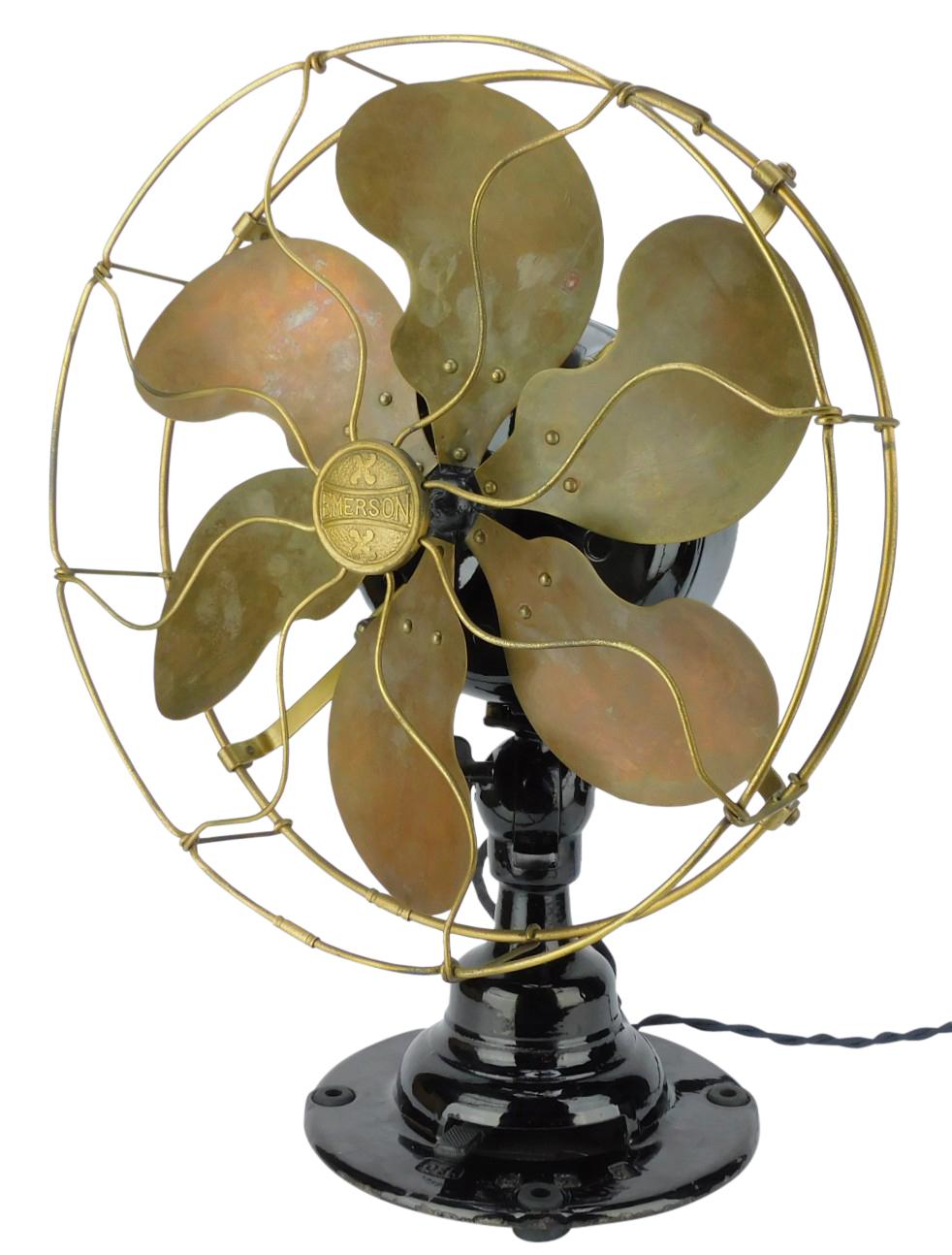 """Circa 1912 12"""" Emerson Type 16666 Lever Oscillating Desk Fan"""