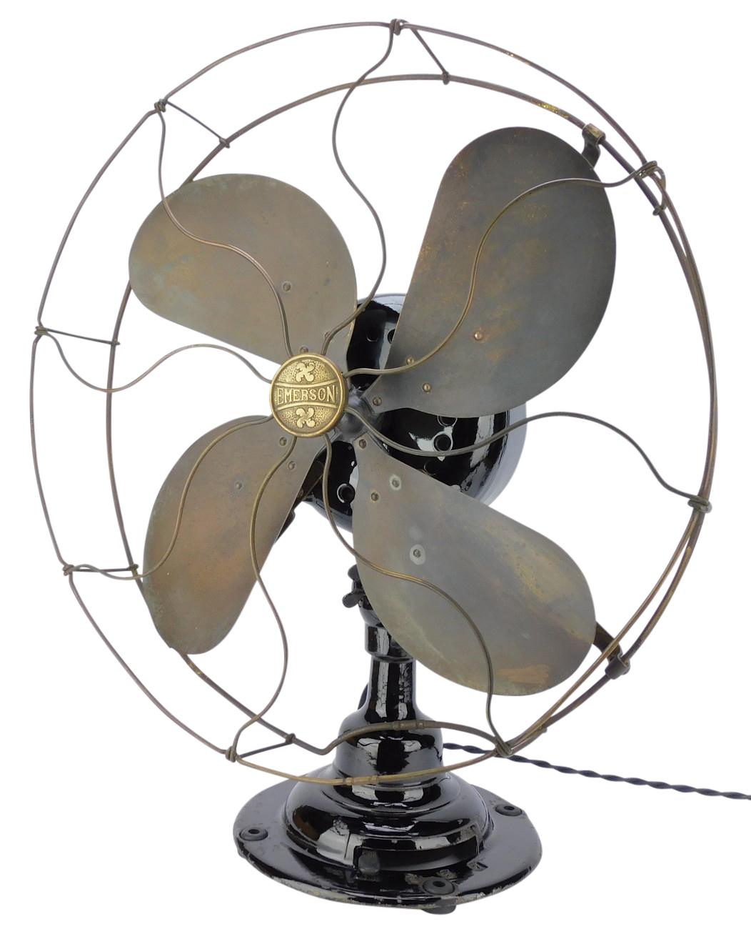 """Circa 1912 16"""" Emerson 16648 Lever Oscillating Desk Fan"""