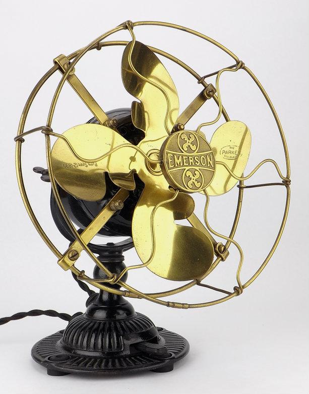 """Emerson 8"""" Brass Desk Fan Type #1500"""