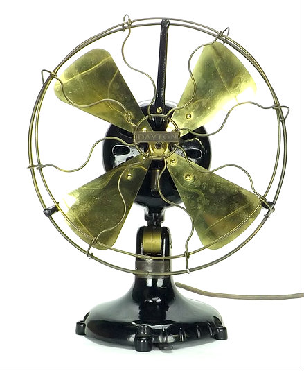 "12"" Dayton Tab Foot Type 50 Brass Desk Fan"