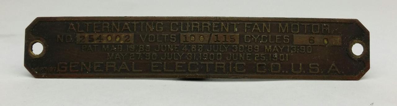 """Original 12"""" GE Pancake Motor Tag No. 254002"""