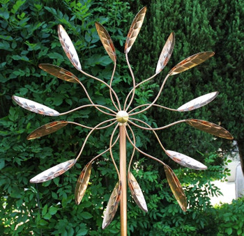 Kinetic Copper Ficus Wind Spinner