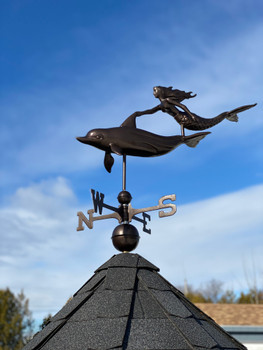 Mermaid and Dolphin Weathervane